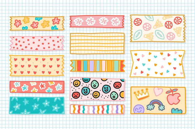 Collection de rubans washi dessinés à la main