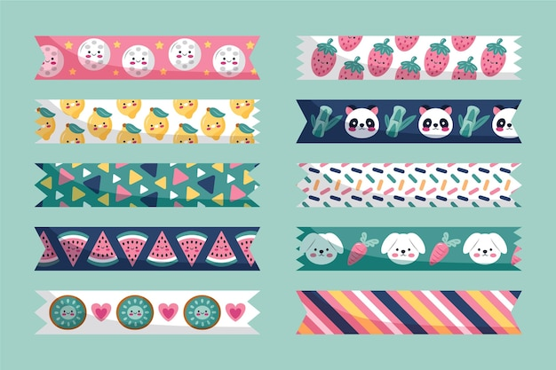 Collection de rubans washi dessinés à la main