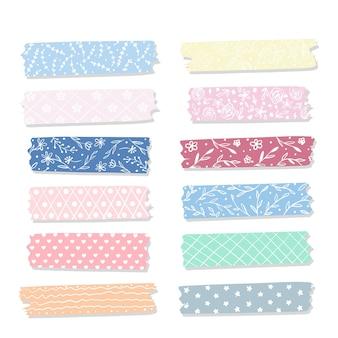 Collection de rubans washi plats aux couleurs pastel