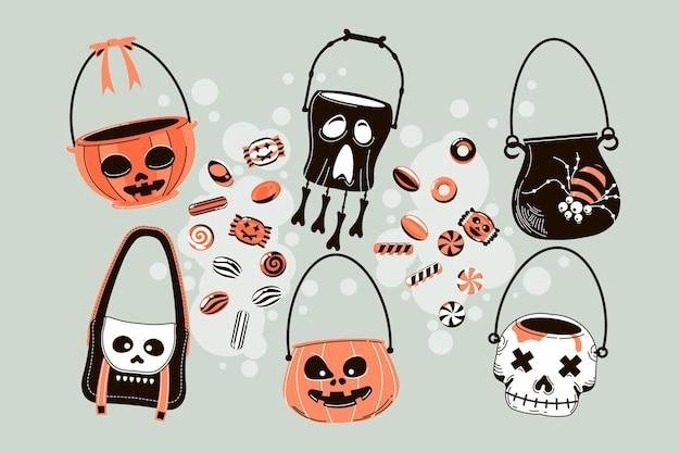 Collection de sacs d'halloween dessinés à la main