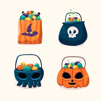 Collection de sacs d'halloween de style dessiné à la main
