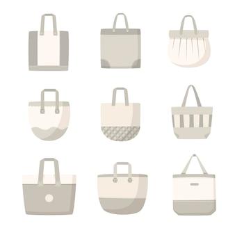 Collection De Sacs Plats En Tissu Vecteur gratuit