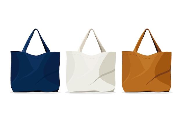 Collection de sacs en tissu design plat