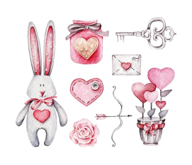 Collection saint valentin isolée sur blanc