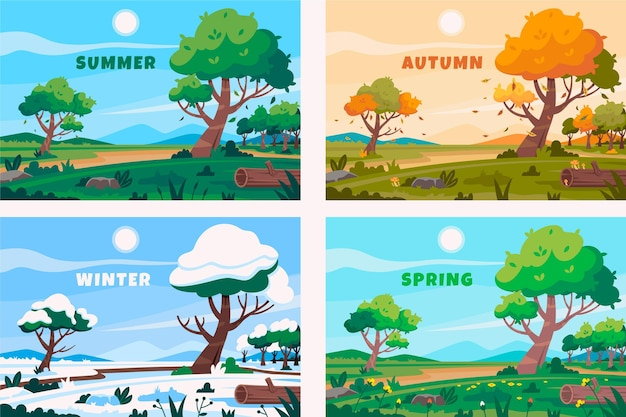 Collection de saisons design plat dessiné à la main