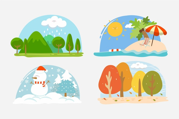 Collection de saisons design plat