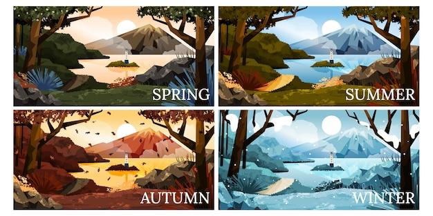 Collection de saisons dessinées à la main