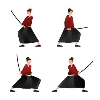 Collection de samouraïs dégradés illustrée