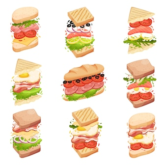 Collection de sandwichs. différentes formes et composition. illustration.