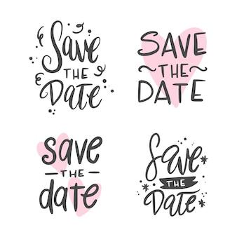 Collection de sauver le lettrage de mariage de date