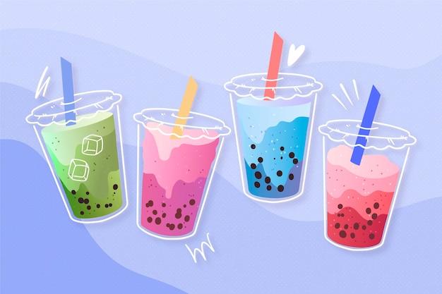 Collection de saveurs de thé à bulles dessinées à la main