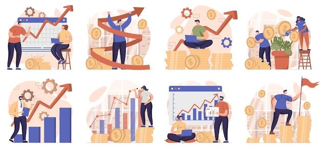 Collection de scènes de croissance d'entreprise isolées les gens analysent une stratégie réussie de données financières
