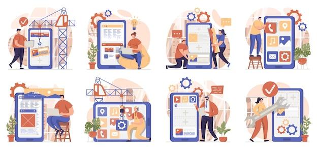 Collection de scènes de développement d'applications isolées les gens créent des mises en page d'interface utilisateur et optimisent les programmes
