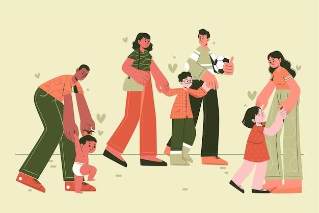 Collection de scènes familiales plates dessinées à la main