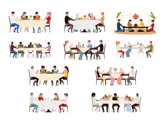 Collection de scènes avec la famille au dîner