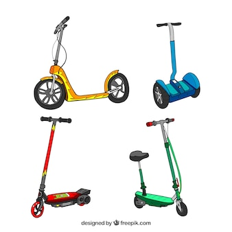 Collection de scooters urbains dessinés à la main