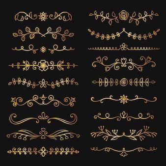Collection de séparateurs de texte fleuri dessinés à la main d'or.