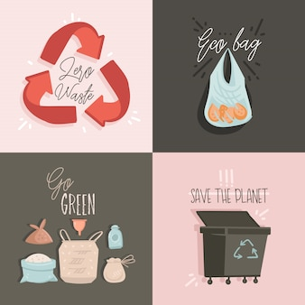 Collection sertie d'illustrations et de texte zero waste et save planet