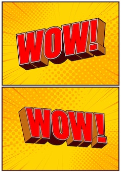 Collection set lettrage comique wow, fond de modèle, illustration pop art.