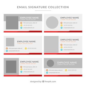 Collection de signature de courriel dans un style plat