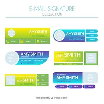 Collection de signatures de courrier électronique en couleurs dégradées