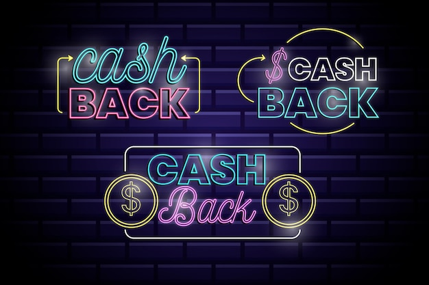 Collection de signe de cashback au néon