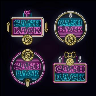 Collection de signe de cashback au néon
