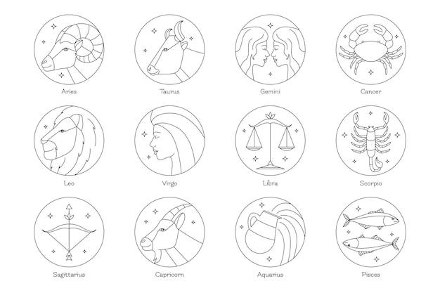 Collection de signe du zodiaque plat linéaire
