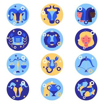 Collection de signe du zodiaque plat