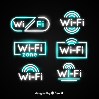 Collection de signe de néon wifi