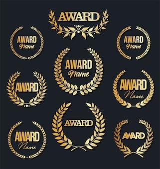 Collection de signe de récompense avec couronne de laurier sur fond noir.