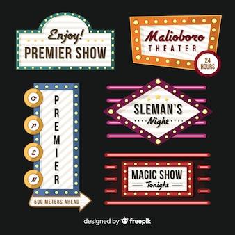 Collection de signe rétro de théâtre plat