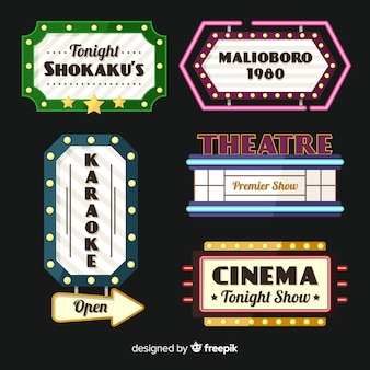 Collection de signe vintage de théâtre plat