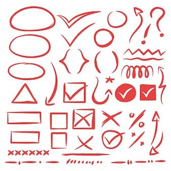 Collection de signes de croquis de style doodle dessinés à la main, flèches, coeurs, formes, tiques