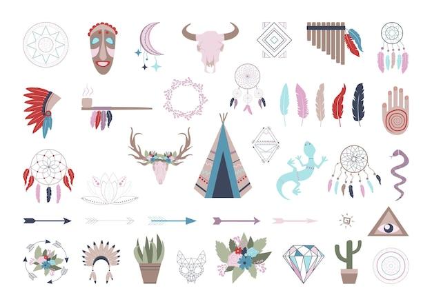 Collection de signes dans un style bohème