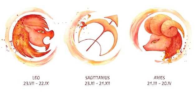 Collection de signes du zodiaque aquarelle peinte à la main