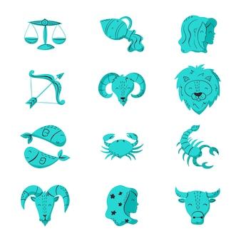 Collection de signes du zodiaque bleu dessinés à la main