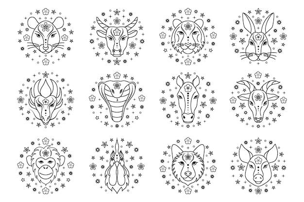 Collection de signes du zodiaque chinois