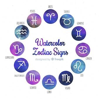 Collection de signes du zodiaque dégradé aquarelle