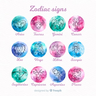 Collection de signes du zodiaque dégradé aquarelle