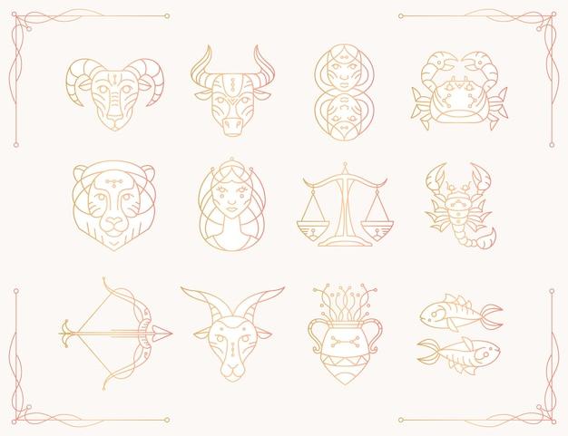 Collection de signes du zodiaque dégradé