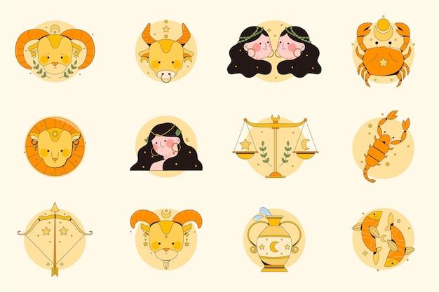 Collection de signes du zodiaque design plat