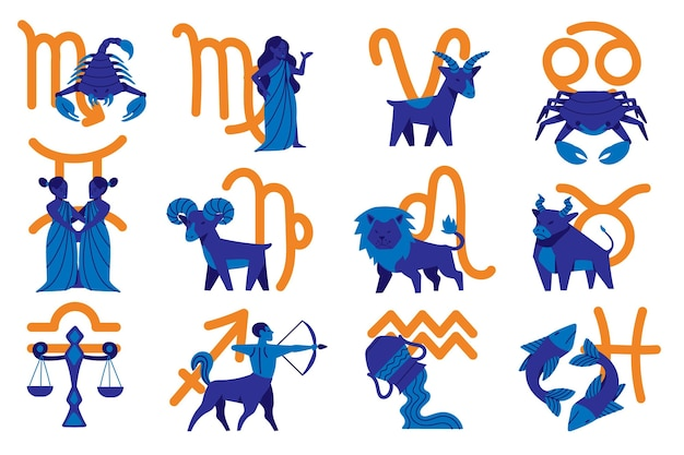 Collection de signes du zodiaque de dessin animé