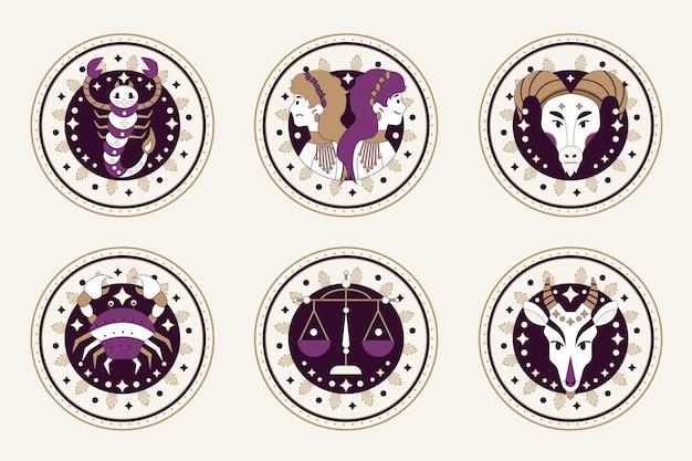 Collection de signes du zodiaque plat