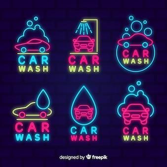 Collection de signes de lavage de voiture au néon