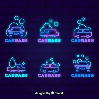 Collection de signes de lavage de voiture au néon