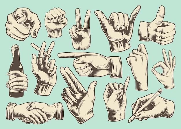 Collection de signes de main illustrés