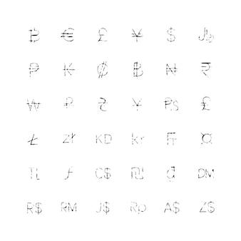 Collection de signes monétaires texturés.
