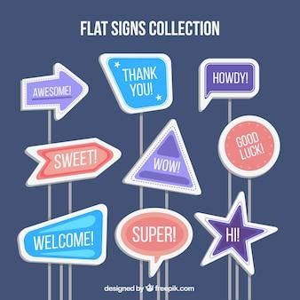 Collection de signes avec des mots