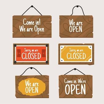 Collection de signes ouverts et fermés dessinés à la main
